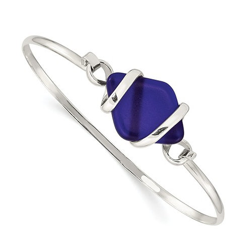 Blue Sea Glass Bangle in Sterling Silver