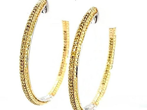 2 Tone Yellow Diamond Large Hoop Earrings .55ct Sterling Silver
