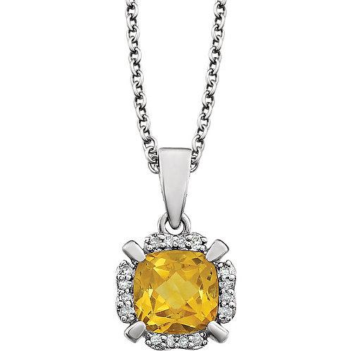 "14kt White Gold Genuine Cistrine 18"" Necklace"