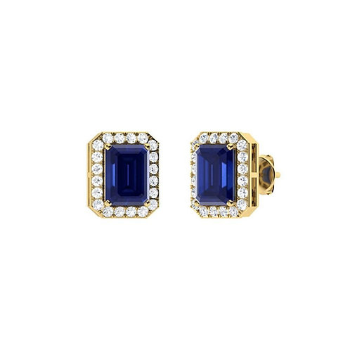 Emerald Cut Sapphire & Diamond Studs
