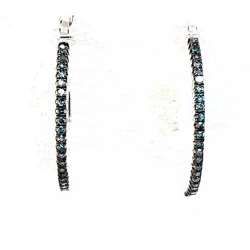 Blue Diamond Hoop Earrings in SS