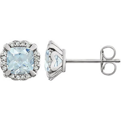 14k White Gold & Diamond Genuine Topaz Earrings
