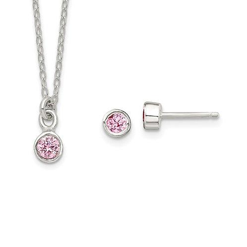 Sterling Silver Kids CZ Necklace & Earring Set