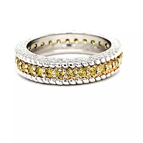 .75 Ctw Yellow Diamonds Eternity Ring in Sterling Silver