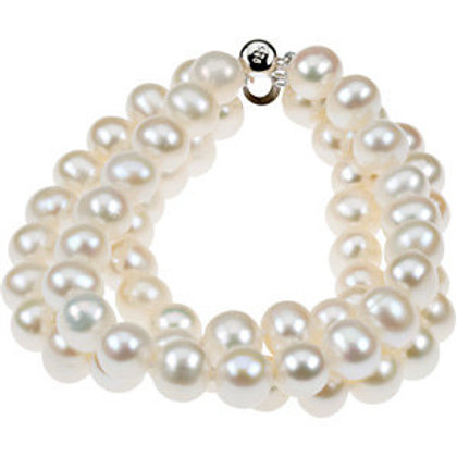 """Sterling Silver 8-9mm Freshwater Cultured Pearl Triple Strand 7.25"""""""