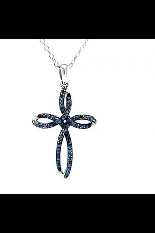Blue Diamond Cross Pendant in Sterling Silver