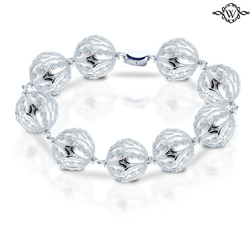 Silver Cage Freshwater Pearl Bracelet