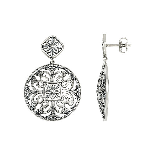 Sterling Silver & 14kt White Gold Orleans Earrings