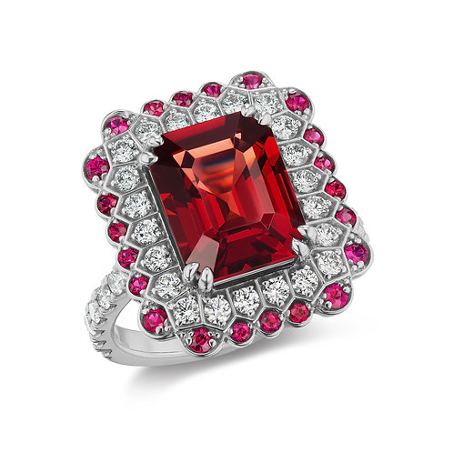 4.53-carat Red Spinel and Diamond Ring in 18K White Gold
