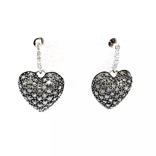 Heart Earrings - Green & White Diamonds in Sterling Silver