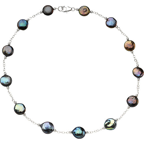 """Black Coin Pearl 18"""" Necklace in Sterling Silver"""
