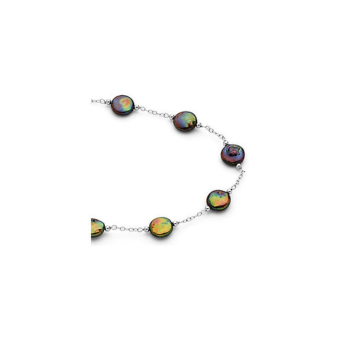 """Black Coin Pearl Necklace 38"""" in Sterling Silver"""