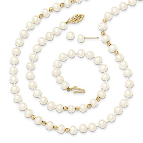6-7MM Freshwater White Pearl Set 14kt Gold