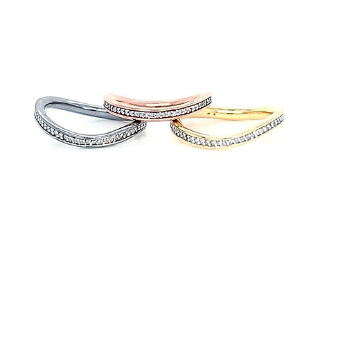 Sterling Silver/ Multi Color .25ctw Diamond Eternity Curved Ring Bands