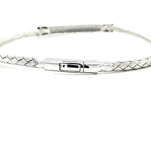 Blue Diamond Woven Sterling Silver Bracelet