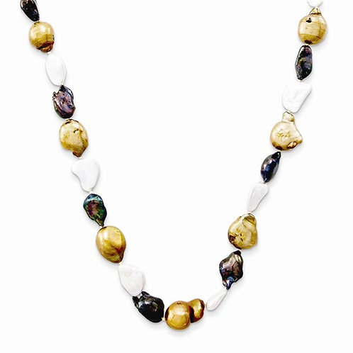 Copper Peacock and White Pearl Necklace 10-11MM