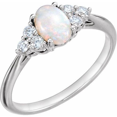 Opal or Ruby & diamond ring