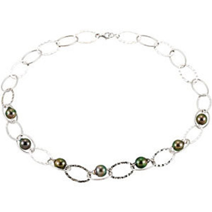 Tahitian Custom Design Sterling Silver Link Necklace