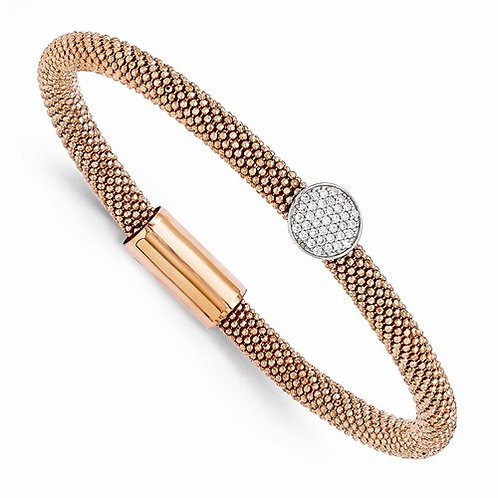 Sterling Silver Rose Gold Plated Flex Cuff with CZs