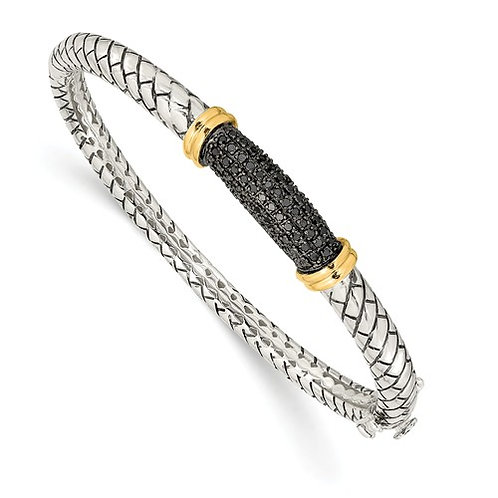 14kt Gold & Sterling Silver with Black Diamonds Bracelet