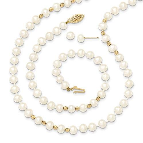 14kt Gold Pearl Set Necklace, Bracelet Earrings