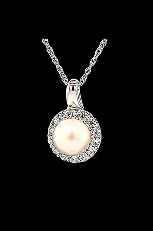 White Pearl and White Sapphire Necklace in Sterling Silver 18""