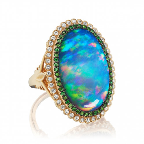 13.47-carat Opal, Diamond and Tsavorite 18K Yellow Gold Ring