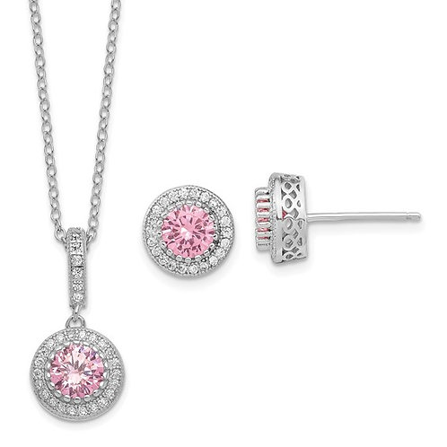 Sterling Silver CZ Stone Necklace And Earring Set 18""