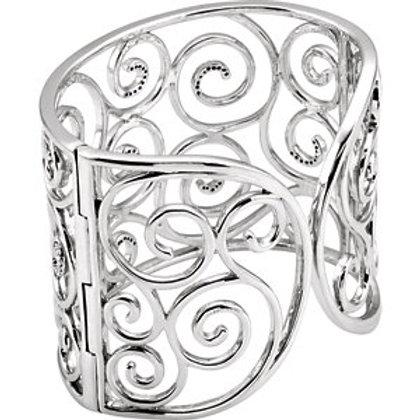 New Orleans Style Cuff Diamond Bracelet in Sterling Silver