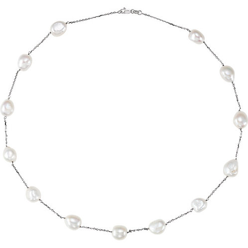 14kt Gold Freshwater Cultured Pearl Link 20""
