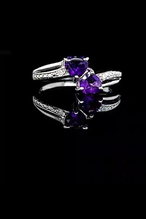 Amethyst & Diamonds In Sterling Silver