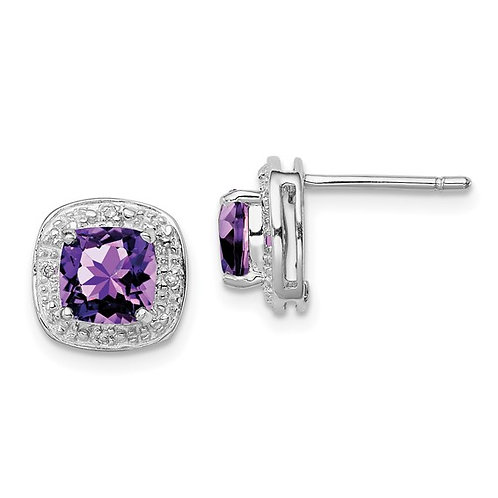 Amethyst and Diamond Earrings in Sterling Silver
