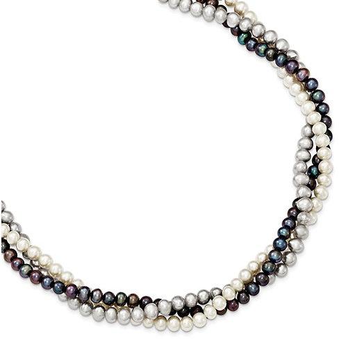 Twist Multi Color Pearl Necklace 18in