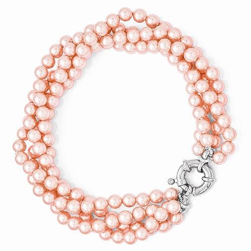 Sterling Silver Majestik 4 Row 4-5mm Pink Shell Bead Twisted Bracelet