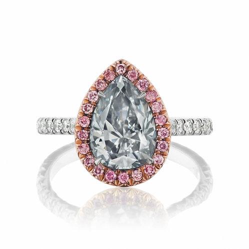 3.01-carat Fancy Gray-Blue Diamond Ring in Platinum