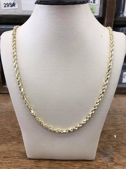 """14kt Rope Chain 28"""" 3.6mm D/C"""