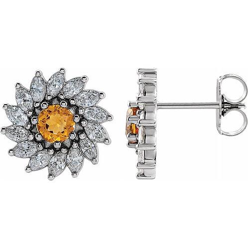 Cistrine and 3/4Ctw Diamond Earrings