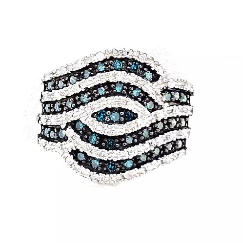 Blue Diamond Sterling Silver ring 3/4 Ctw