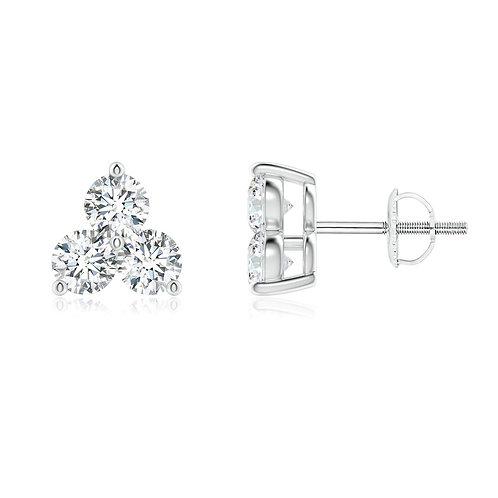 3 Stone Diamond Studs in 14kt White Gold