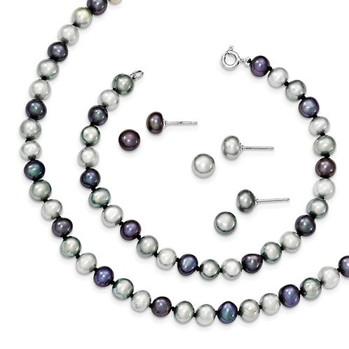 MultiColor Freshwater Cultured Pearl Set 5-6MM