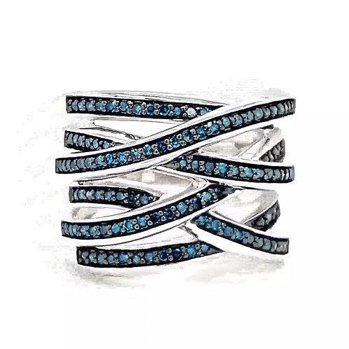 Blue Diamond Fancy Ring in Sterling Silver