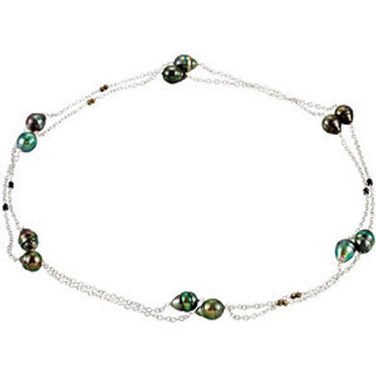 "Tahitian Pearl & Black Spinel 48"" Necklace"