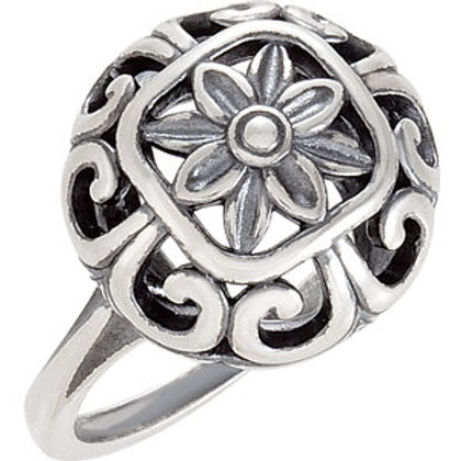 New Orleans Floral Design Sterling Silver Ring
