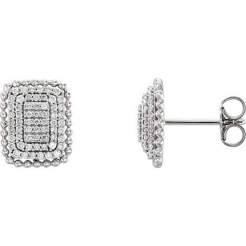 14kt White Gold 3/8 Ctw Rectangle Diamond Cluster Earrings