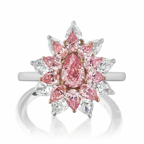 Exceptional Pear-Shaped Argyle Pink Diamond Ring
