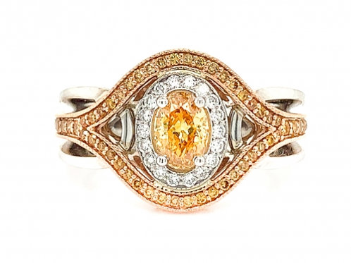 0.55-carat Fancy Vivid Yellow-Orange Diamond Ring in 18K Gold