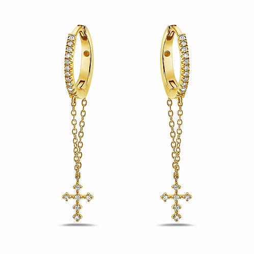 Diamond Cross Drop Earrings