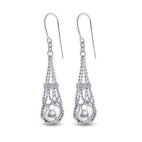 Lace Basket Pearl Earrings in Sterling Silver