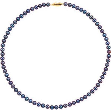 Saltwater Akoya Black Pearl Necklace in 14kt 7-8MM
