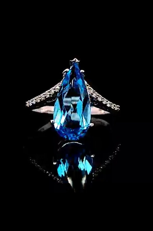 4ct Swiss Blue Topaz Pear w/ Diamonds in 10Kt White Gold Curved Ring